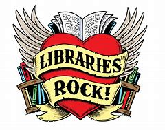 "Heart with wings that says ""Libraries Rock!"""